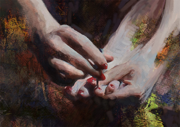 digital painting of hands and feet