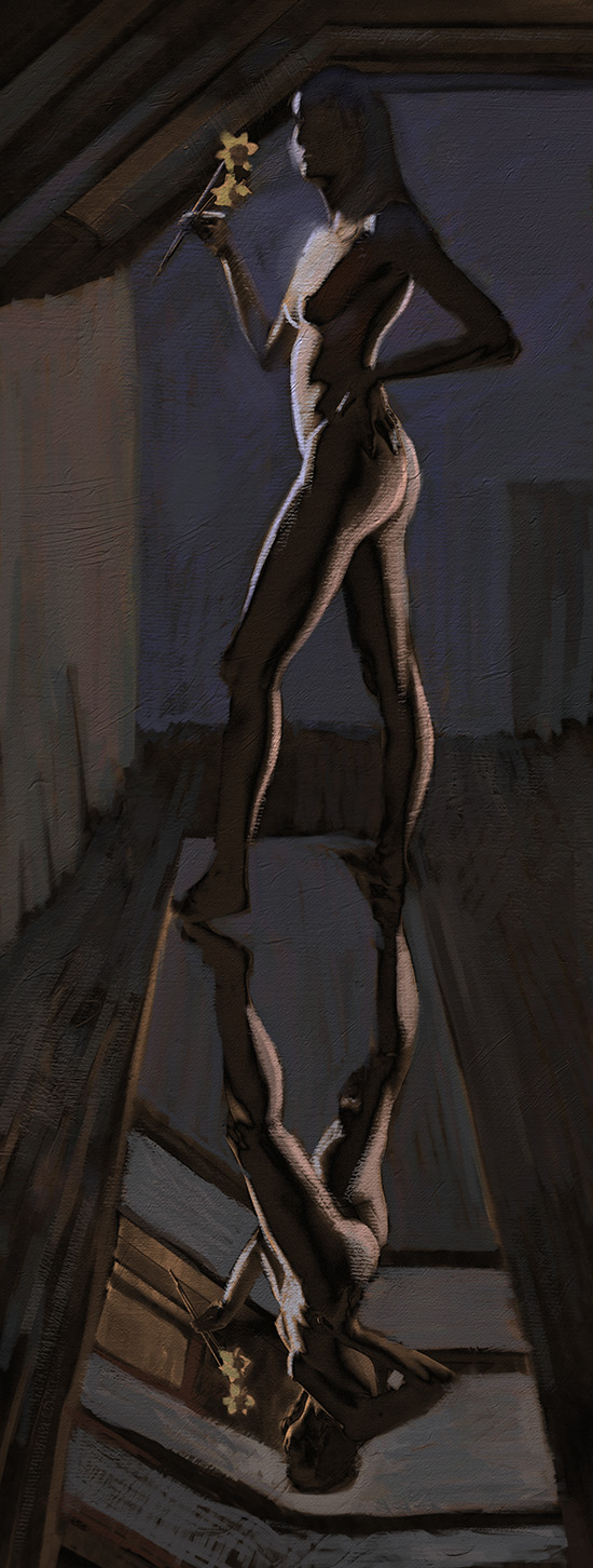 digital painting of Josie standing on mirror