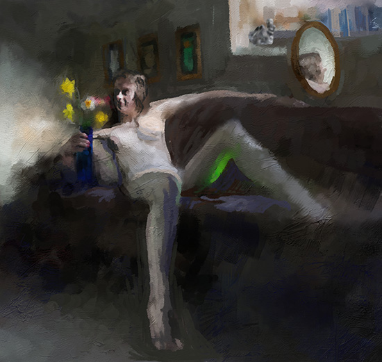Digital Painting of Josie sitting with flowers
