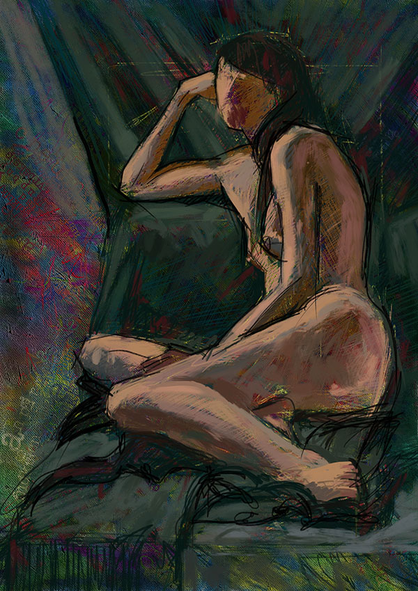 Digital life drawing created on iPad with PreCreate and Jot touch 4